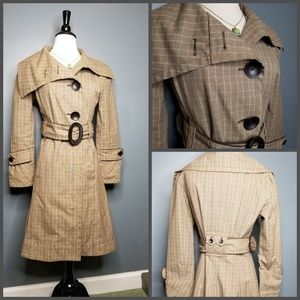 Brown Plaid Original Soia & Kyo Trench Peacoat